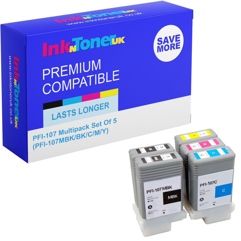 Premium Compatible Canon PFI-107 Multipack Set Of 5 Ink Cartridges (PFI-107MBK/BK/C/M/Y)