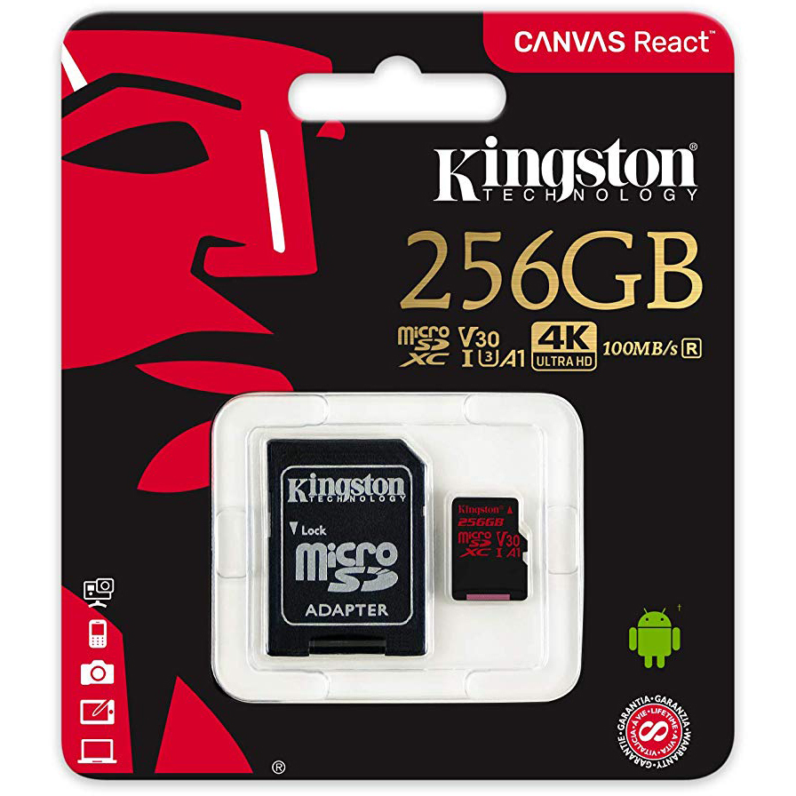 Original Kingston 256GB Canvas React Class 10 microSDXC Memory Card + SD Adapter (SDCR/256GB)