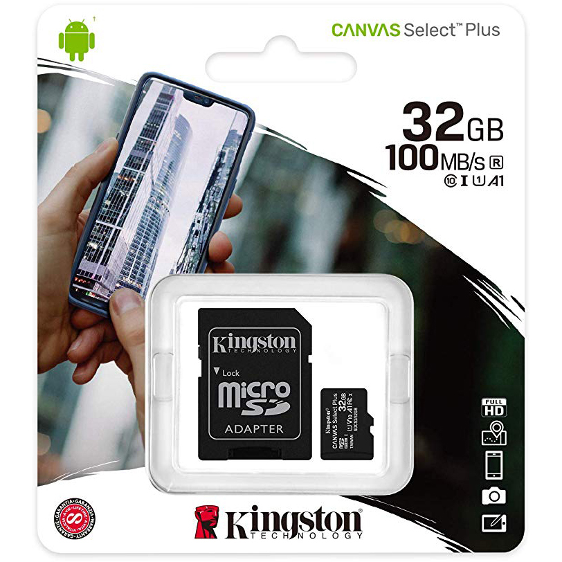 Original Kingston Canvas Select Plus 32GB Class 10 microSD Memory Card + SD Adapter (SDCS2/32GB)