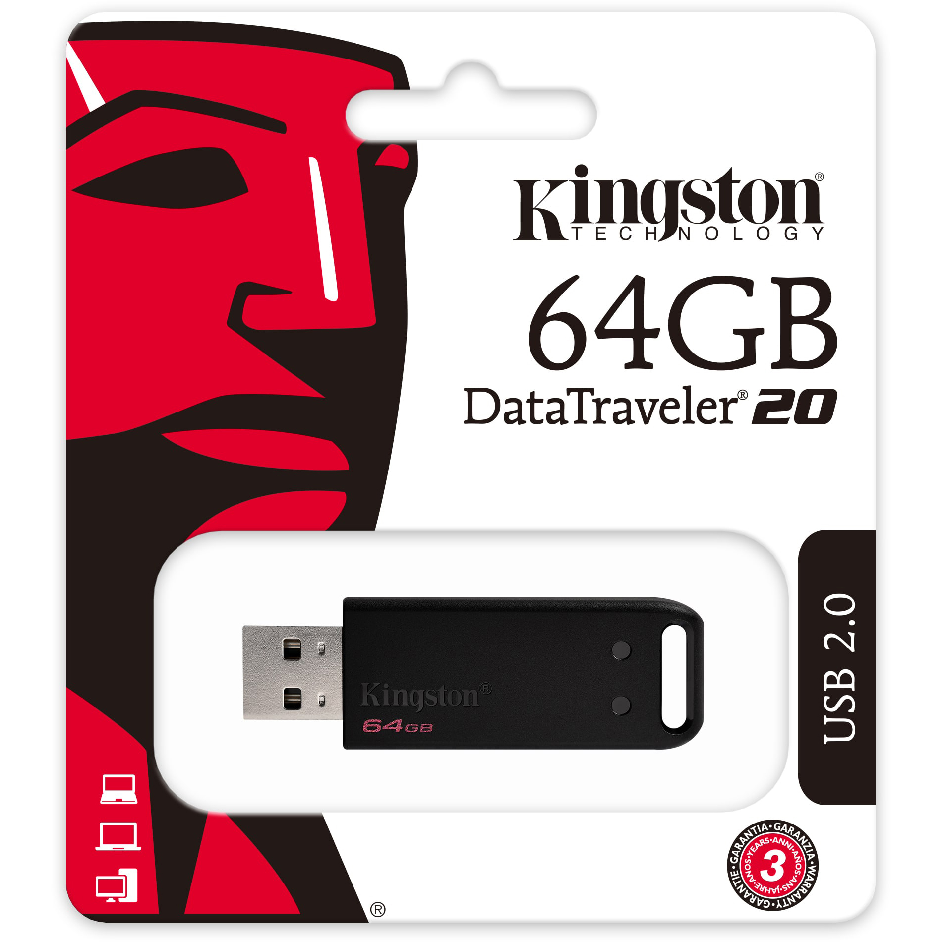 Original Kingston 64GB DataTraveler 20 USB 2.0 Flash Drive (DT20/64GB)