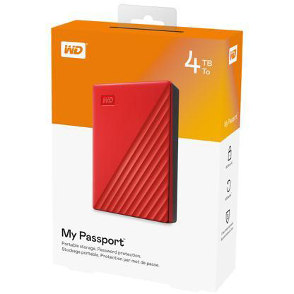 Original Western Digital 4TB My Passport Red USB 3.2 Gen 1 External Hard Drive (WDBPKJ0040BRD-WESN)