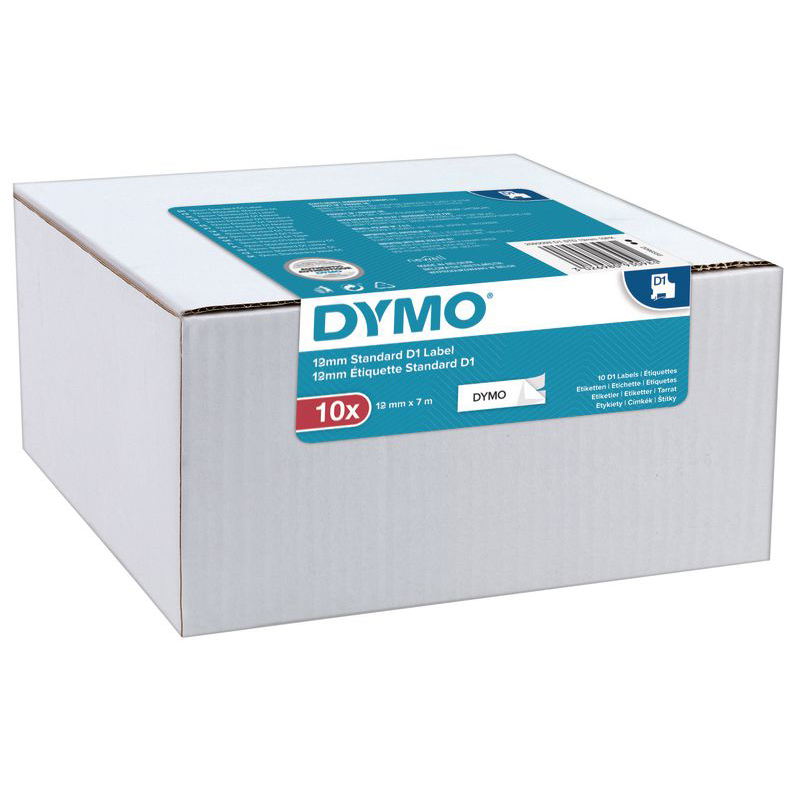 Original Dymo D1 Black on White 12mm x 7m Label Tape 10 Pack (2093097)