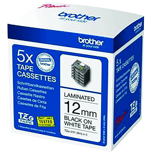 Original Brother TZE231M5 Black On White 12mm x 8m Laminated P-Touch 5 Pack Labelling Tape (TZE231M5)