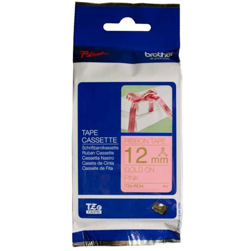 Original Brother TZE-RE34 Gold On Pink 12mm x 4m Plastic Labelling Tape (TZERE34)