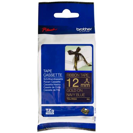 Original Brother TZE-RN34 Gold On Navy Blue 12mm x 4m Plastic Labelling Tape (TZERN34)