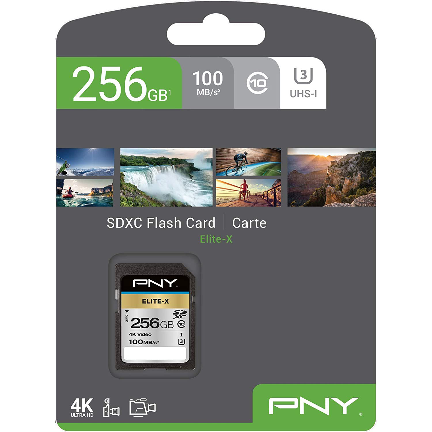Original PNY Elite-X 256GB Class 10 SDXC Memory Card (P-SD256U3100EX-GE)