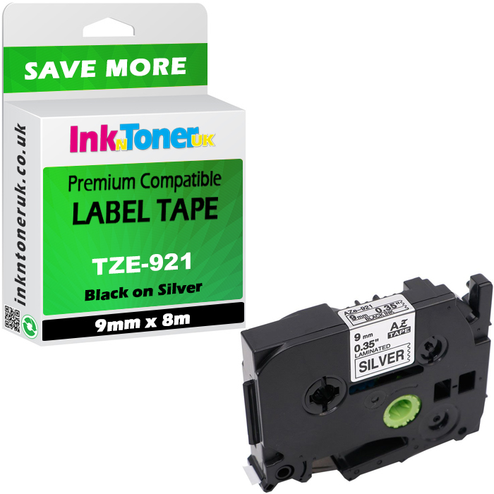 Premium Compatible Brother TZe-921 Black on Silver 9mm x 8m P-Touch Label Tape (TZe921)