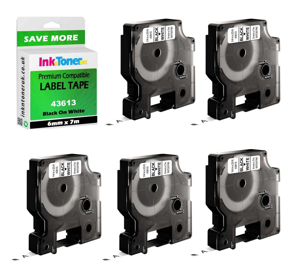 Premium Compatible Dymo 43613 Black On White 6mm x 7m D1 Label Tapes 5-Pack (S0720780)