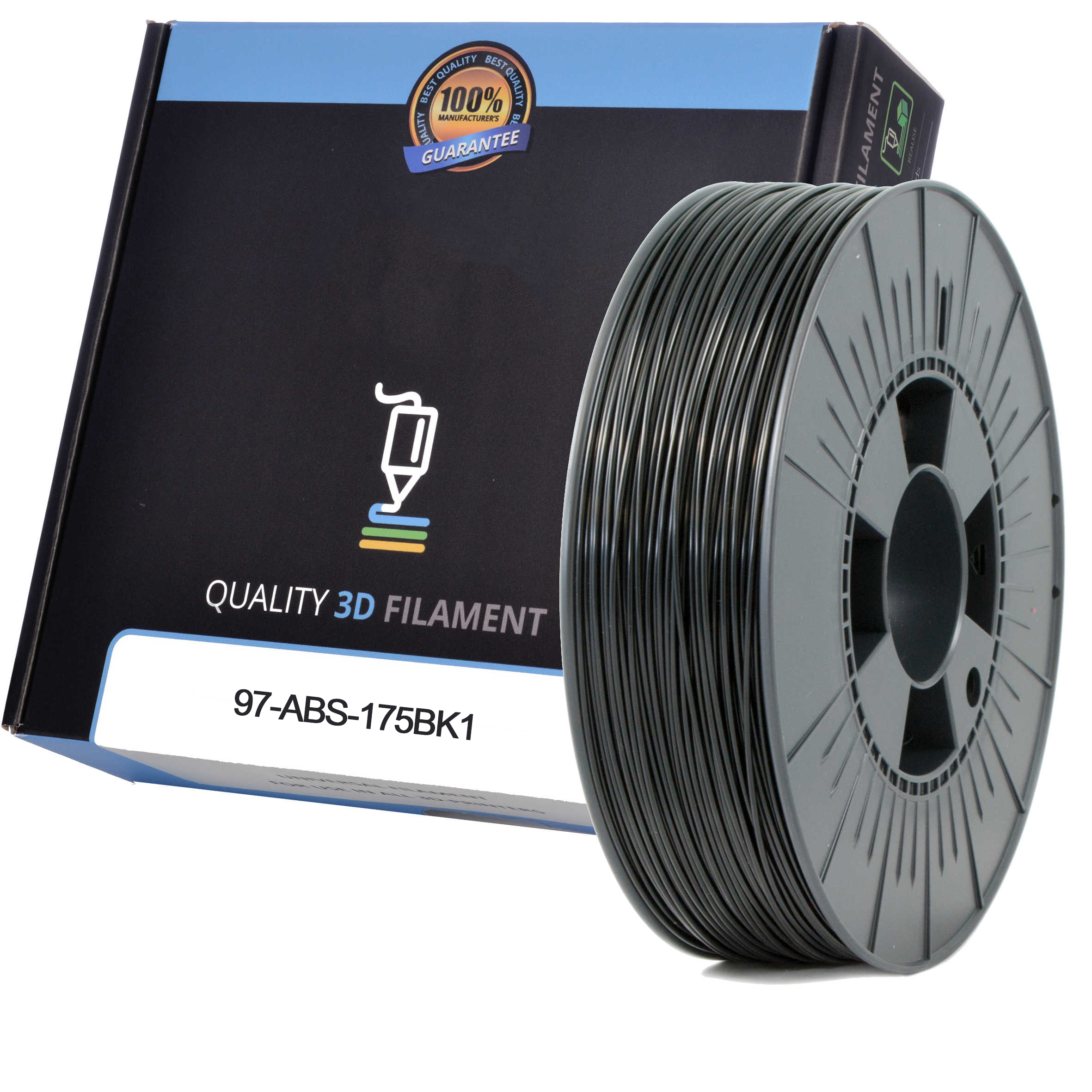 Premium Compatible ABS 1.75mm Black 1kg 3D Filament (97-ABS-175BK1)
