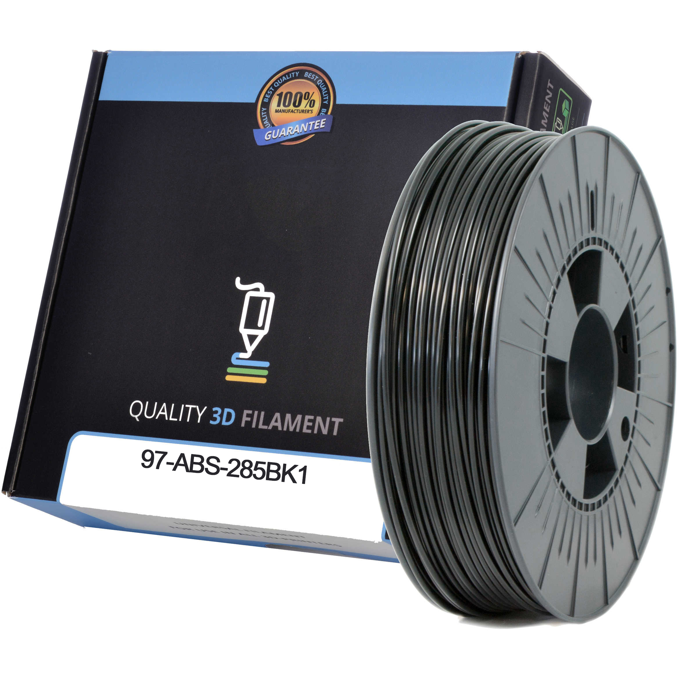 Premium Compatible ABS 2.85mm Black 1kg 3D Filament (97-ABS-285BK1)