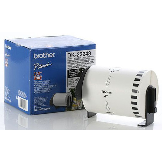 Original Brother DK-22243 Black on White 102mm wide Continuous Paper Label Roll (DK22243)