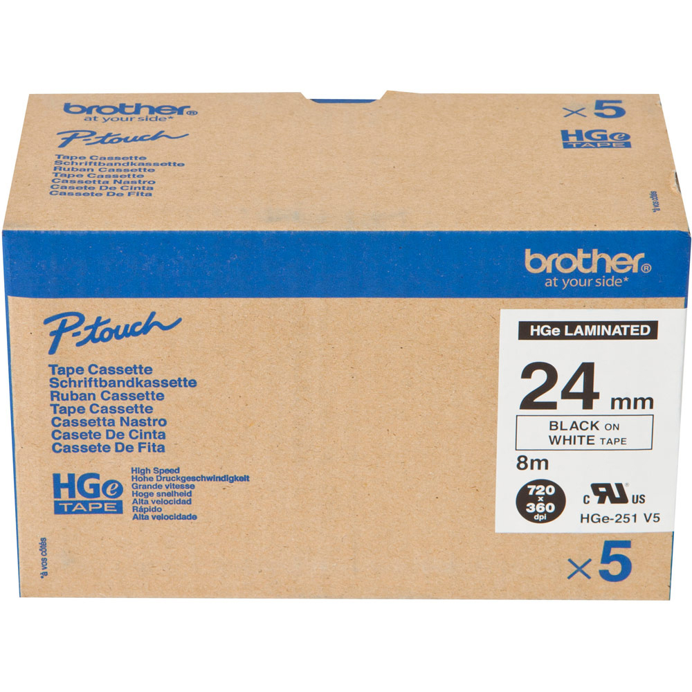 Original Brother HGe-251V5 Black on White 24mm Wide Label Tape 5 Pack (HGE251V5)