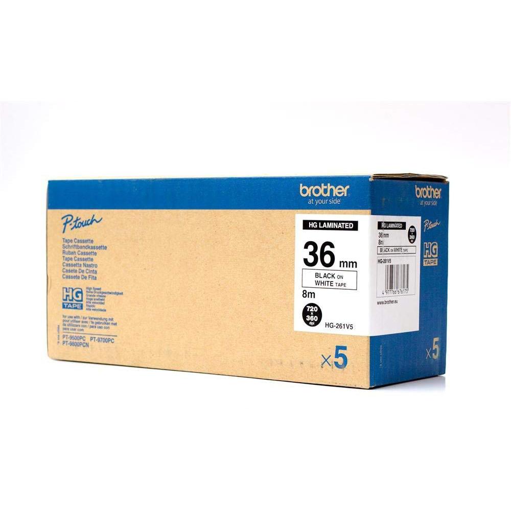 Original Brother HGe-261V5 Black on White 36mm Wide Label Tape 5 Pack (HGE261V5)