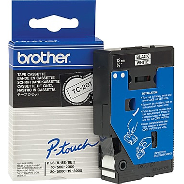 Original Brother TC-201 Black On White 12mm x 7.7m P-Touch Label Tape (TC201)