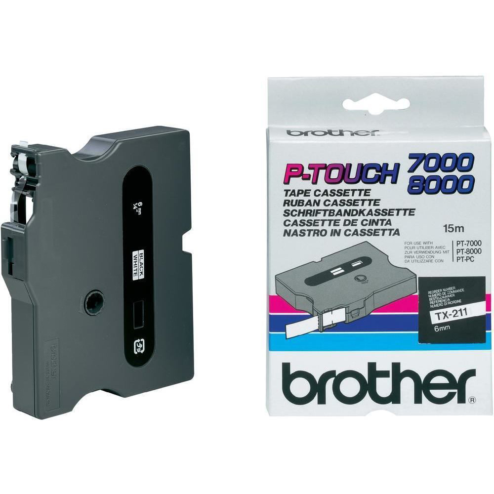 Original Brother TX-211 Black On White 6mm x 15m Label Tape Cassette (TX211)