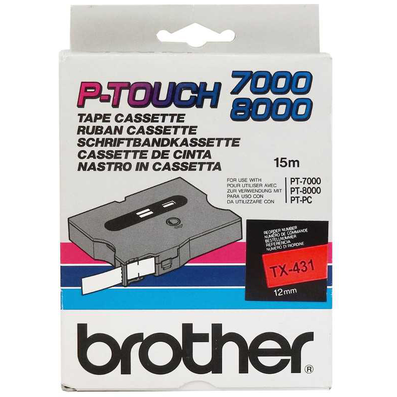 Original Brother TX-431 Black On Red 12mm x 15m P-Touch Label Tape (TX431)