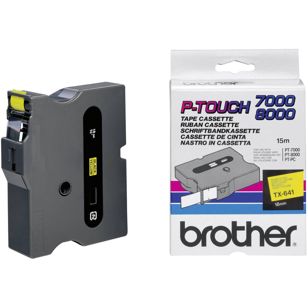 Original Brother TX-641 Black On Yellow 18mm x 15m Laminated P-Touch Label Tape (TX641)