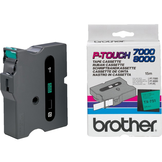 Original Brother TX-751 Black On Green 24mm x 15m Laminated P-Touch Label Tape (TX751)