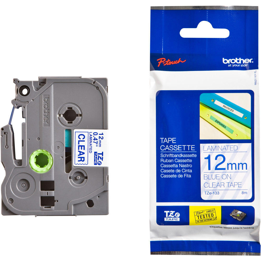 Original Brother TZe-133 Blue On Clear 12mm x 8m Laminated P-Touch Label Tape (TZE133)