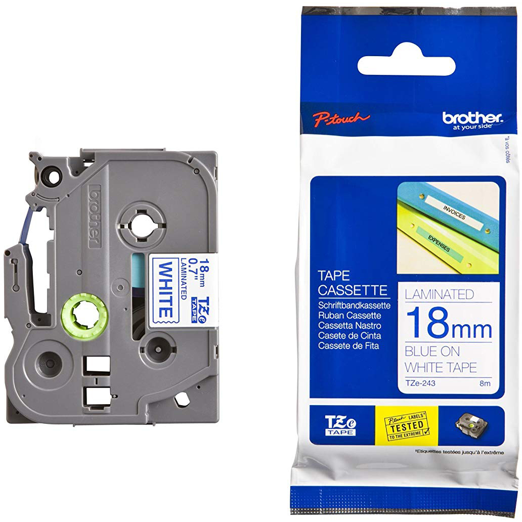 Original Brother TZe-243 Blue On White 18mm x 8m Laminated P-Touch Label Tape (TZe243)