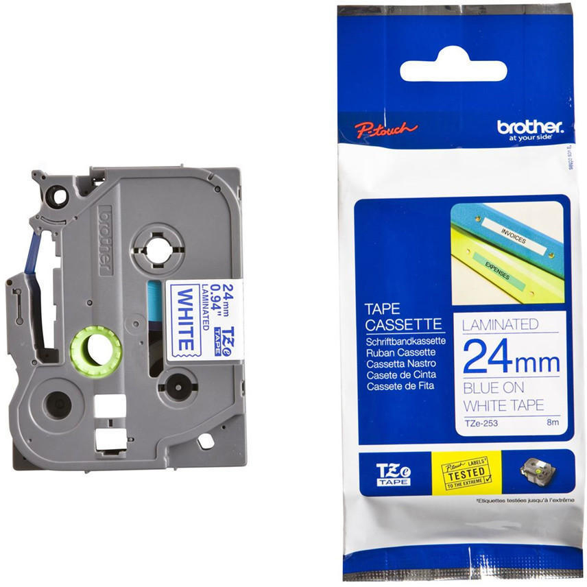 Original Brother TZe253 Blue On White 24mm x 8m Laminated P-Touch Label Tape (TZE-253)