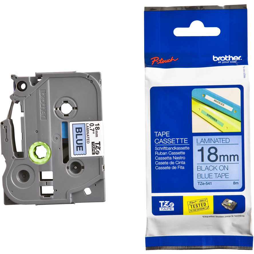 Original Brother TZe-541 Black On Blue 18mm x 8m Laminated P-Touch Label Tape (TZe541)