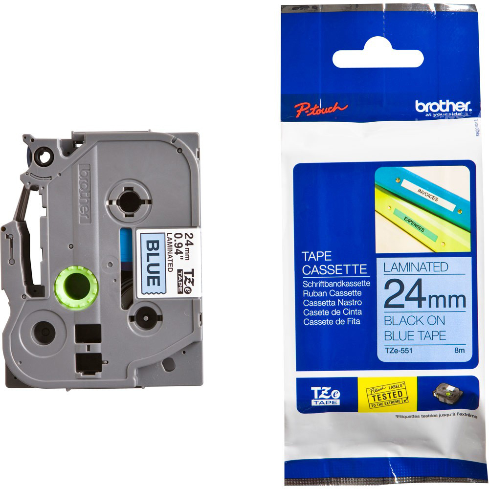 Original Brother TZe551 Black On Blue 24mm x 8m Laminated P-Touch Label Tape (TZE-551)