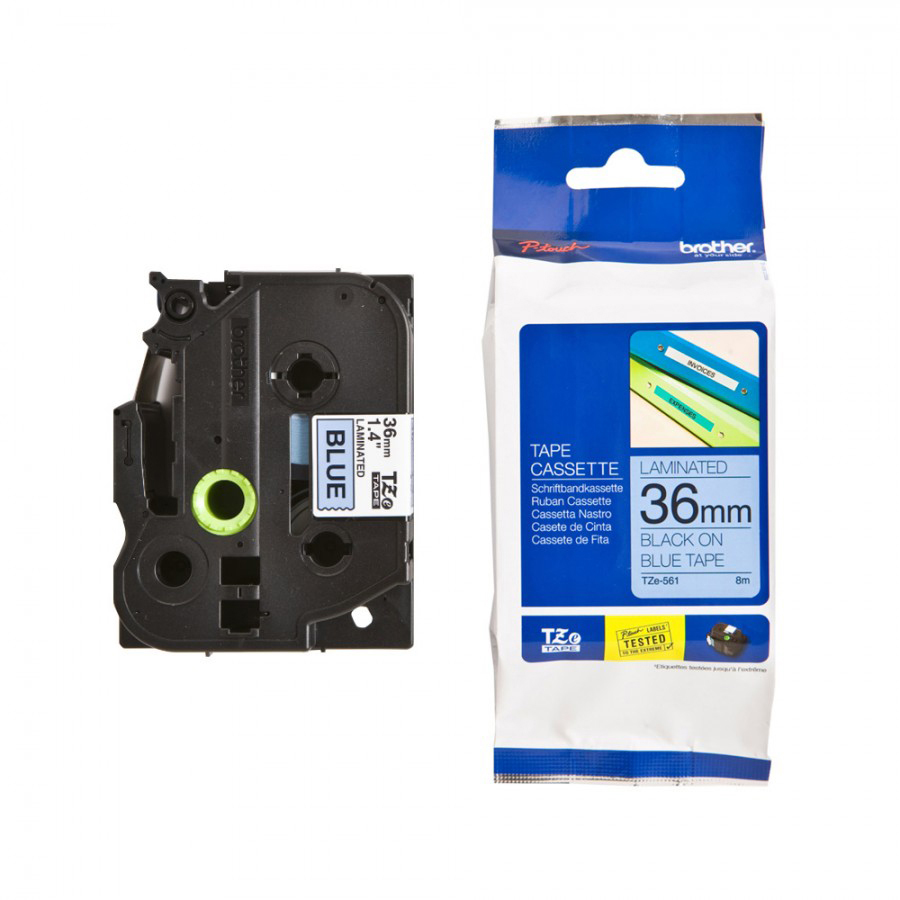Original Brother TZe561 Black On Blue 36mm x 8m Laminated P-Touch Label Tape (TZE-561)