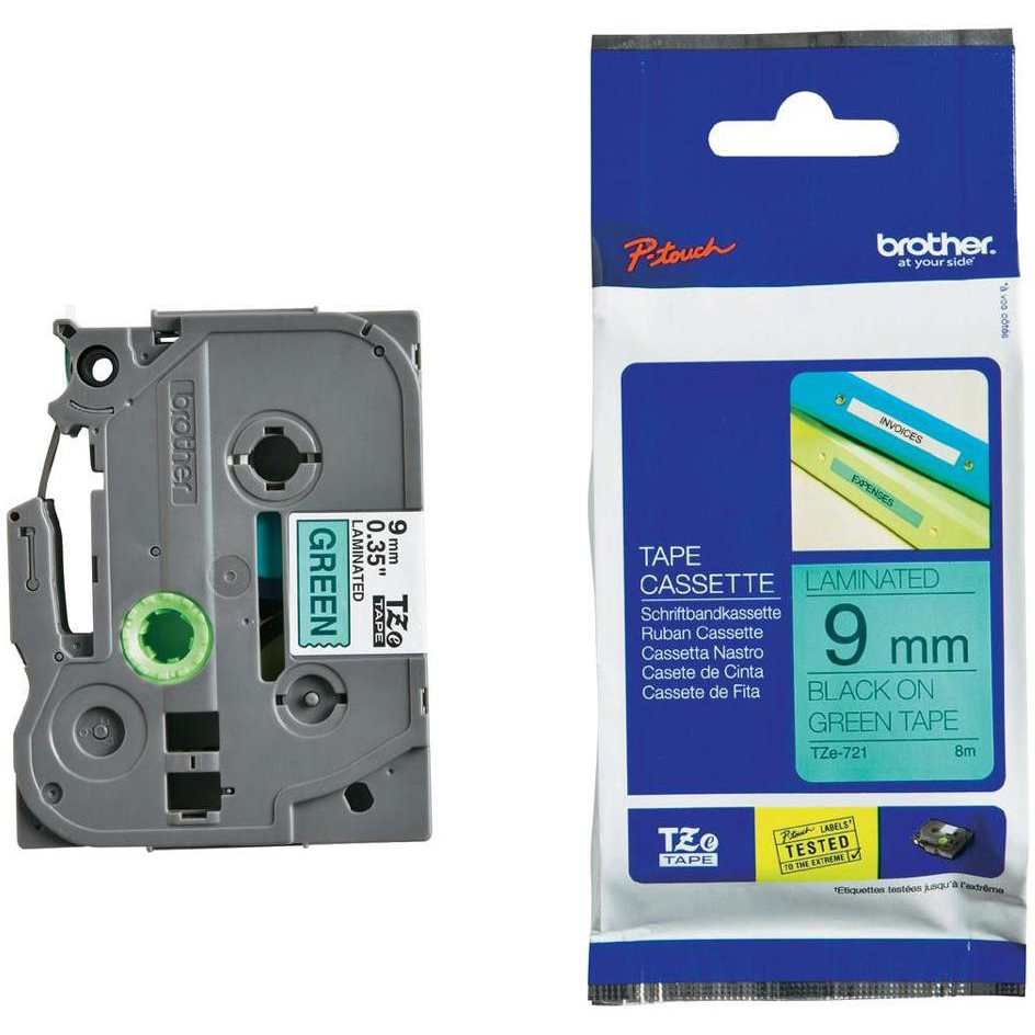 Original Brother TZe721 Black On Green 9mm x 8m Laminated P-Touch Label Tape (TZE-721)