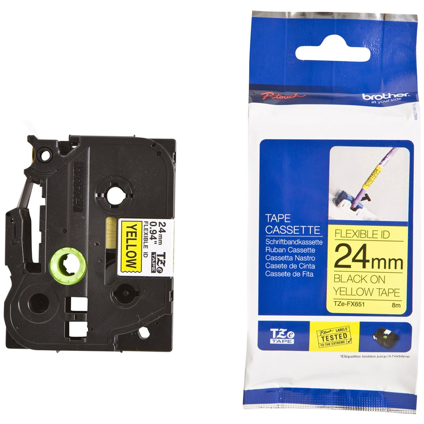 Original Brother TZeFX651 Black On Yellow 24mm x 8m Flexi ID P-Touch Label Tape (TZE-FX651)