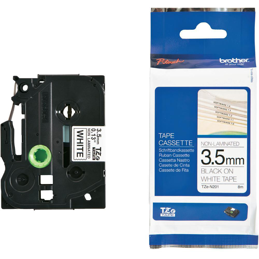 Original Brother TZeN201 Black On White 3.5mm x 8m Non-Laminated P-Touch Label Tape (TZE-N201)