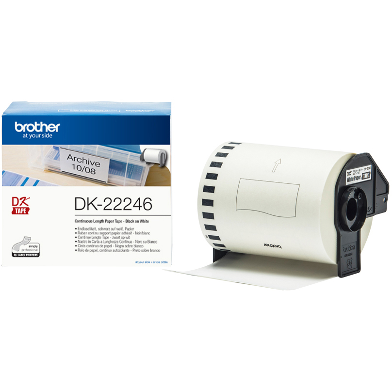 Original Brother DK-22246 Black On White 103mm x 30.48m Continuous Label Tape (DK22246)