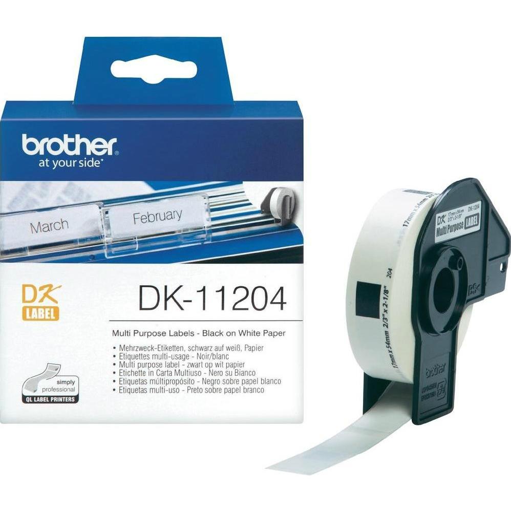 Original Brother DK-11204 Black On White 17mm x 54mm Multipurpose Label Roll Tape - 400 Labels (DK11204)