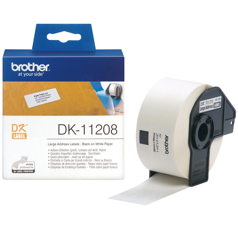 Original Brother DK-11208 Black On White 38mm x 90mm Multipurpose Large Address Label Roll Tape - 400 Labels (DK11208)