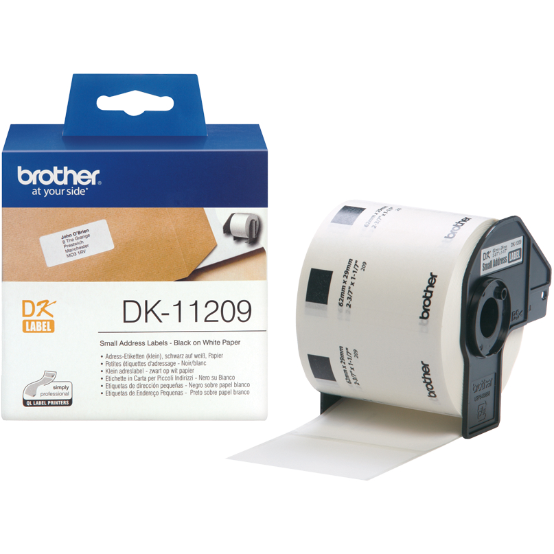 Original Brother DK-11209 Black On White 29mm x 62mm Small Address Label Roll Tape - 800 Labels (DK11209)