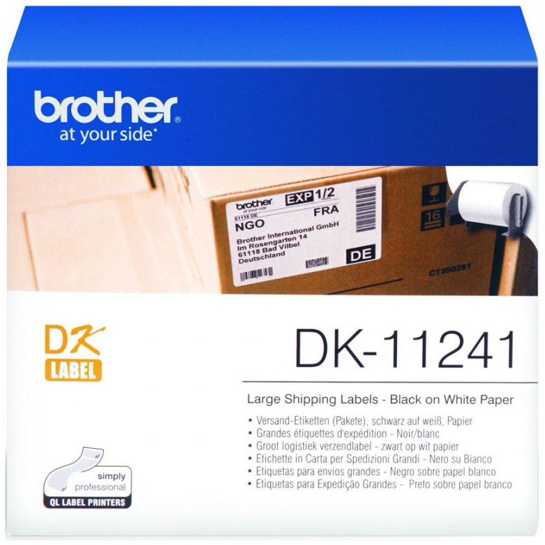 Original Brother DK-11241 Black On White 102mm x 152mm Large Shipping Label Roll Tape - 200 Labels (DK11241)