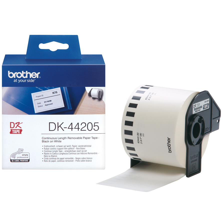 Original Brother DK-44205 Black On White 62mm x 30.48m Removable Adhesive Continuous Paper Label Tape (DK44205)