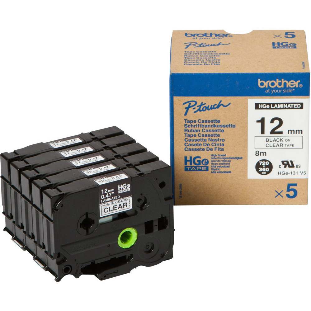 Original Brother HG-131V5 5-Pack Black On Clear 12mm x 8m High-Grade Label Tape (HGe-131V5)