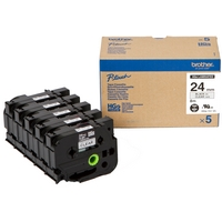 Original Brother HG-151V5 5-Pack Black On Clear 24mm x 8m High-Grade Label Tape (HG151V5)