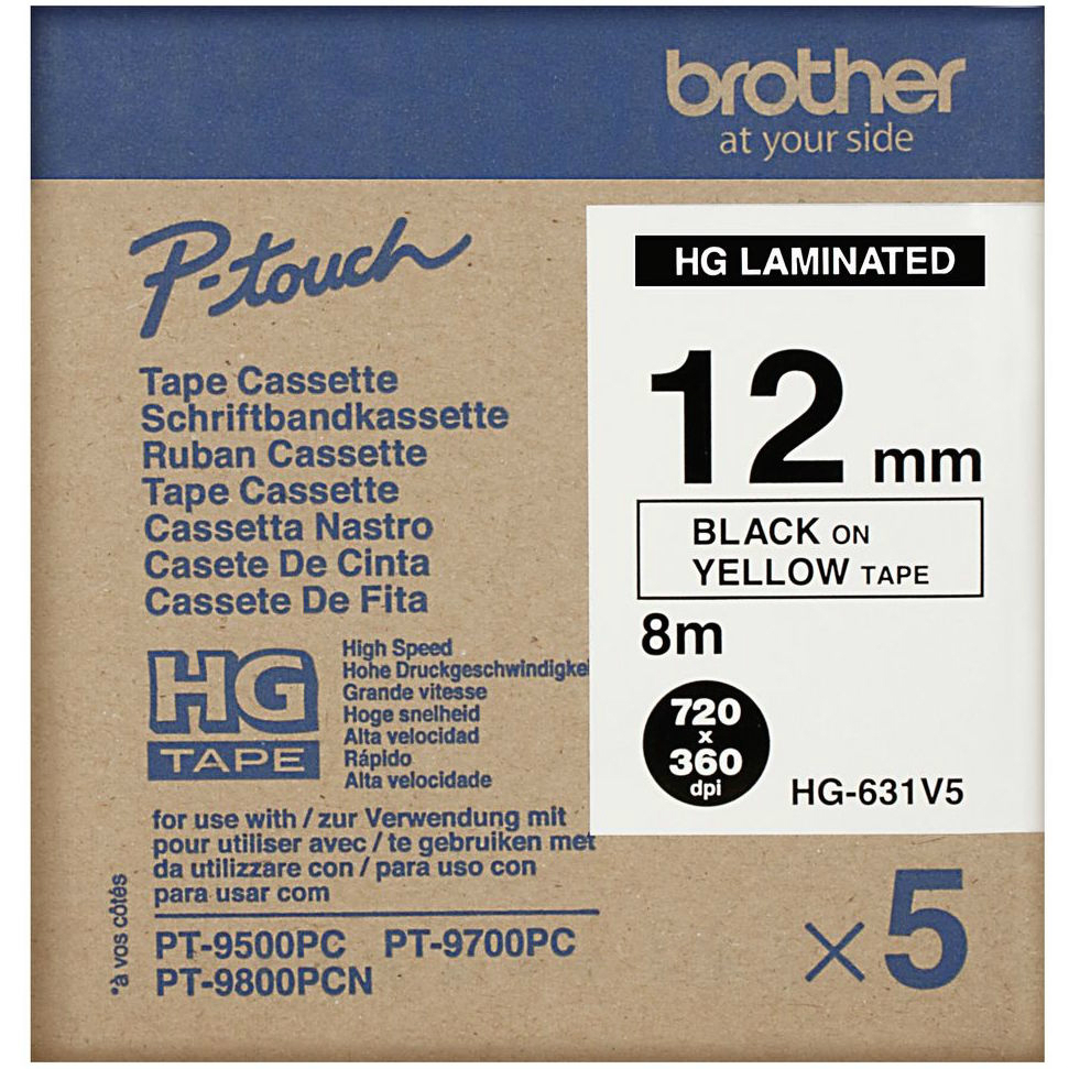 Original Brother HG-631V5 5-Pack Black On Yellow 12mm x 8m High Grade Laminated P-Touch Label Tape (HG631V5)
