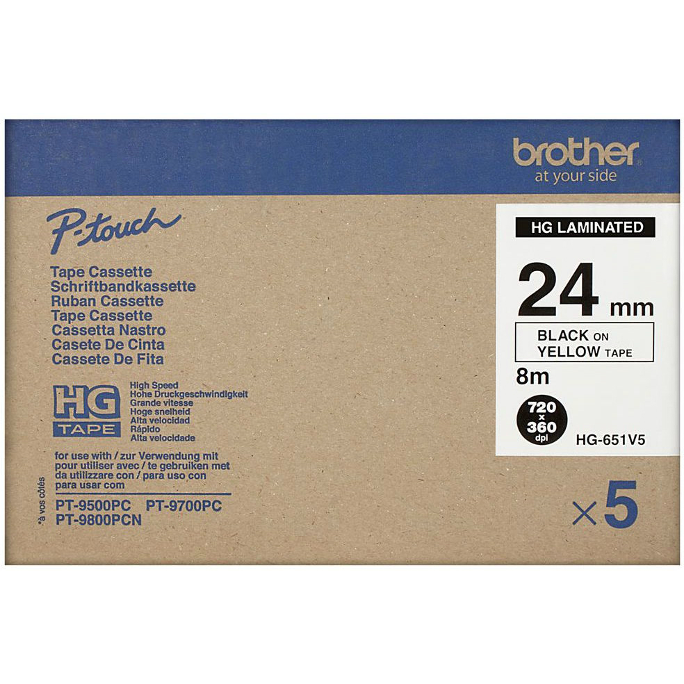 Original Brother HG-651V5 5-Pack Black On Yellow 24mm x 8m High Grade Laminated P-Touch Label Tape (HGe-651V5)
