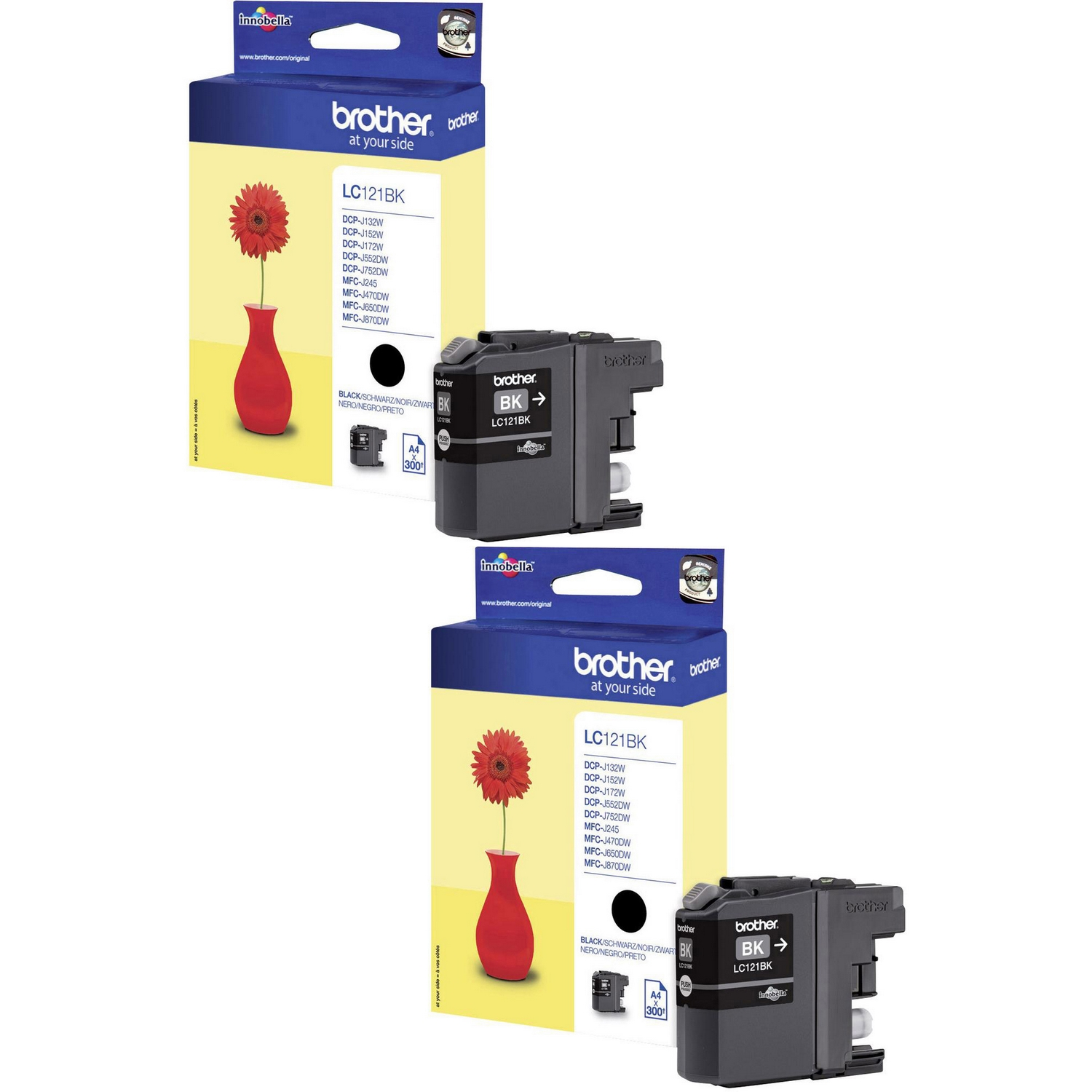 Original Brother LC121 Black Twin Pack Ink Cartridges (LC121BK)