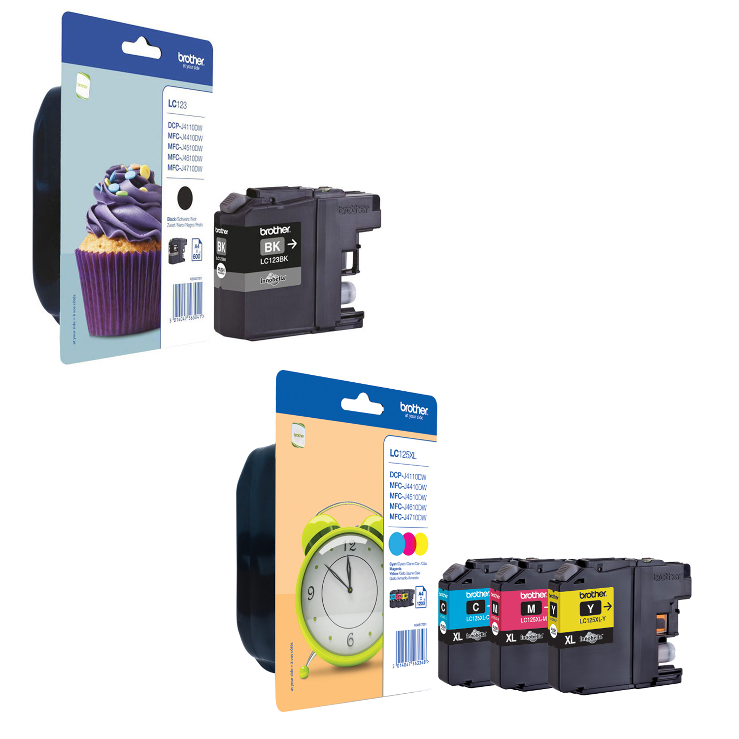 Original Brother LC123BK / LC125XL C, M, Y Multipack Ink Cartridges (LC123BK / LC125XLRBWBPRF)