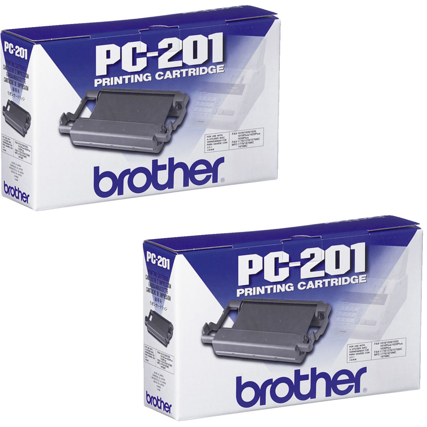 Original Brother PC-201 Black Twin Pack Ink Ribbon Cartridges (PC201)