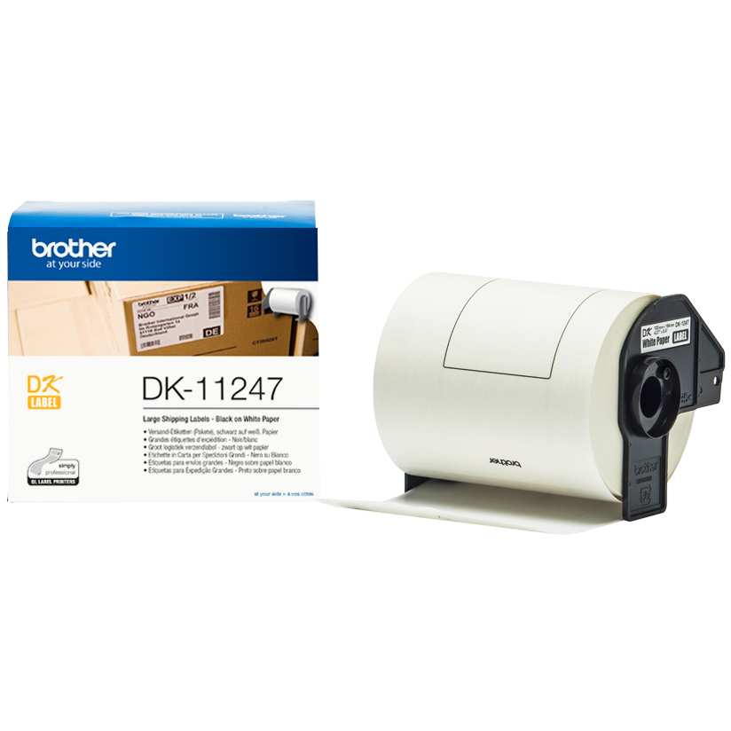 Original Brother DK11247 Black On White 103mm x 164mm Large Shipping Labels (DK-11247)