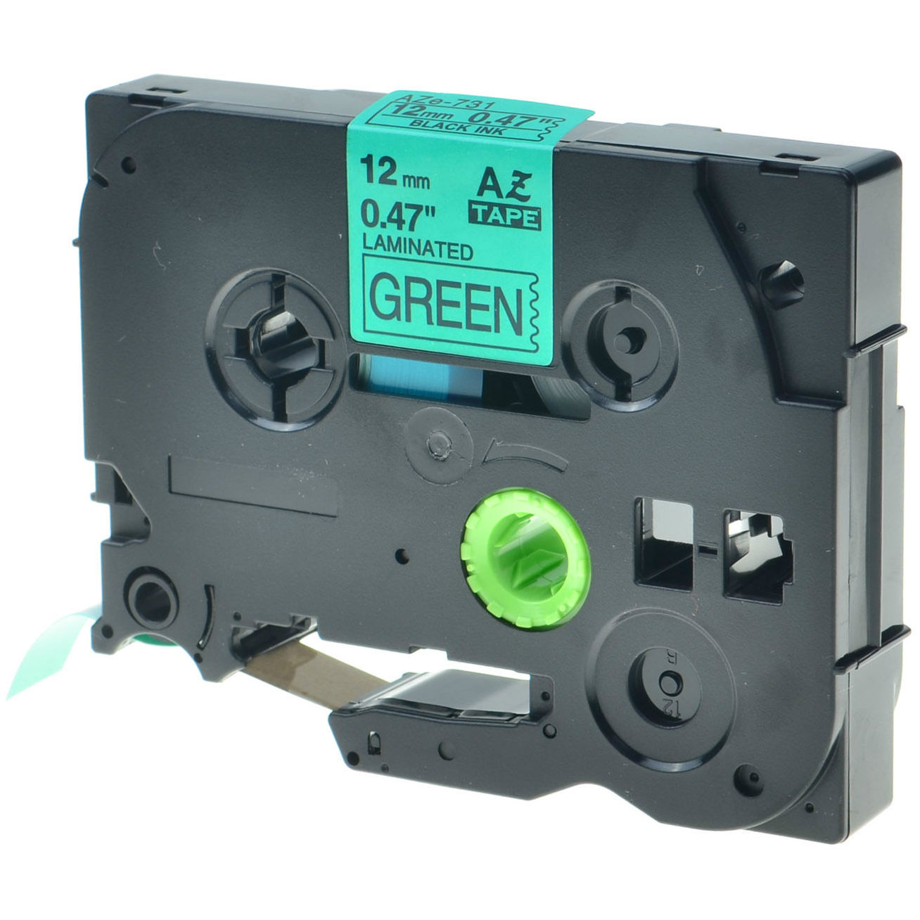 Original Brother TX-731 Black On Green 12mm x 15m Laminated P-Touch Label Tape (TX731)