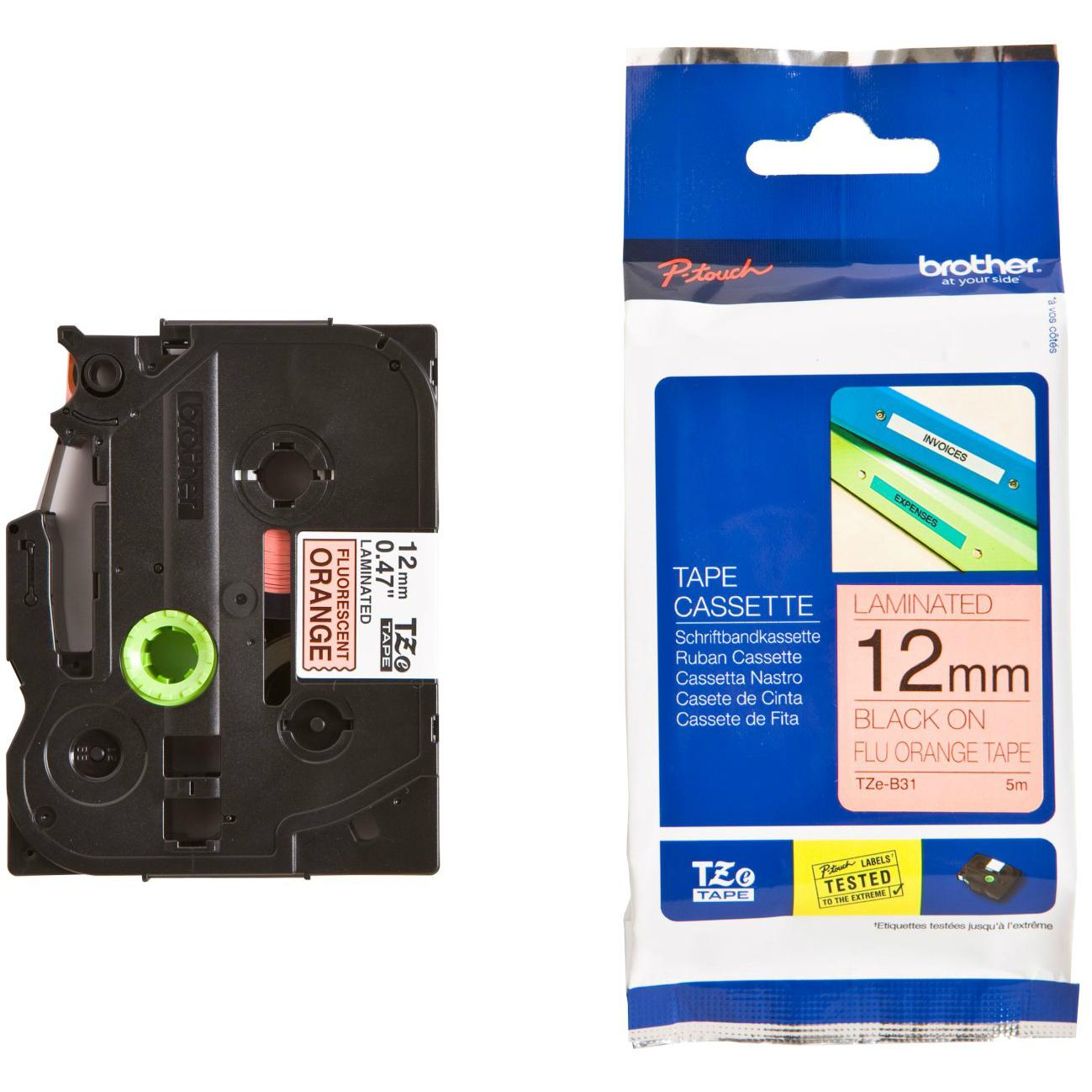 Original Brother TZe-B31 Black On Fluorescent Orange 12mm x 8m Laminated P-Touch Label Tape (TZEB31)
