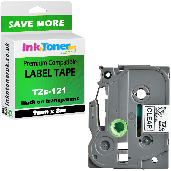 Premium Compatible Brother TZe-121 Black On Clear 9mm x 8m Laminated P-Touch Label Tape (TZe121)