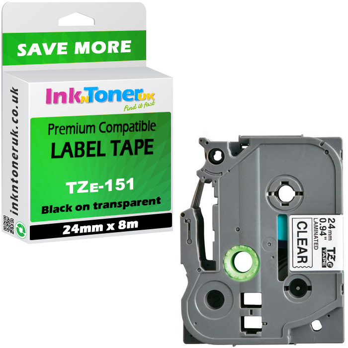 Premium Compatible Brother TZe-151 Black On Clear 24mm x 8m Laminated P-Touch Label Tape (TZE151)