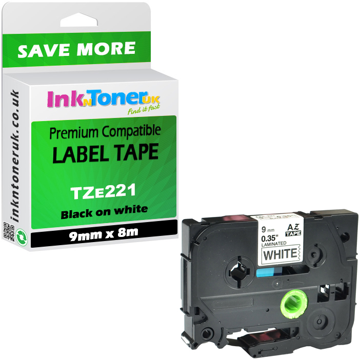 Premium Compatible Brother TZe-221 Black On White 9mm x 8m P-Touch Label Tape (TZE221)